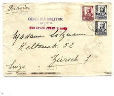 Lettre AVION D' IBIZA à Zürich. Censura Militar/IBIZA - PAR AVION JUSQU' A ROME. Vignette Au Dos. - Bolli Di Censura Nazionalista