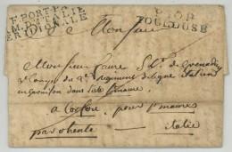 PORT PAYE ARMEE D'ITALIE MERIDIONALE + P30P TOULOUSE / LàC 1809 Pour Corfou . - Marcophilie (Lettres)