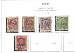 Creta PO 1909/10 Stamps 1900/08 Ovpr.   Scott.111/114+ See Scan On Scott.Page - Crète