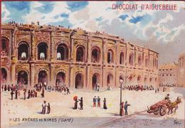 Chromo Serie Monuments Archeologiques Les Arenes De Nimes Gard (style Liebig) Chocolat Chocolaterie D' Aiguebelle - Aiguebelle