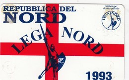 TESSERA PARTITO LEGA NORD.- 1993- SEZ. LIGURIA- SOCIO SOSTENITORE-- EMANATA-PLASTIFICATA- - Documenti Storici