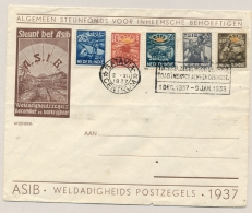 """Nederlands Indië - 1937 - Machinestempel """"1 ASIB Zegel Voor Uw Post..."""" Op ASIB-envelop Met Complete Serie - Not Sent - Netherlands Indies"""