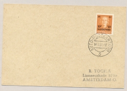 Nederland - 1953 - 10 Cent Watersnood 1e Dag Met Stempel AUTOPOSTKANTOOR / 3 Naar Amsterdam - Periode 1949-1980 (Juliana)