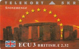 Denmark, TP 060A, ECU-United Kingdom, Stonehenge, Mint, Only 1200 Issued, 2 Scans. - Denmark