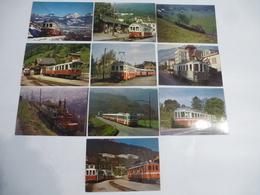 SUISSE CPM TRAIN Ligne AOMC Voie étroite : Aigle-Ollon-Monthey-Champéry - Série Compléte - Lot 10 CPM - Trains