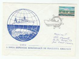 KRILL FISHING Polar EXPEDITION COVER SHIP 'TARNAVA' 1980   Romania Arctic Stamps Fish - Fishes
