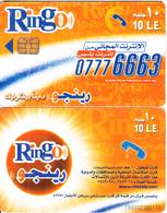 EGYPT - 07776663(standard Reverse), Ring-O Telecard 10 L.E., Chip Siemens 35, Black CN : 1900, Used - Egypt
