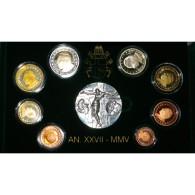 VATICAN - COFFRET EURO BELLE EPREUVE  2005 D'OCCASION -  JEAN PAUL II - 8 PIECES (3.88 Euros) + 1 MEDAILLE - - Vatican