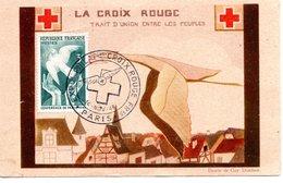 PARIS 75 CROIX ROUGE ILLUSTRATEUR TIMBRE COLOMBE  DOMBRET OBLITERATION - Croix-Rouge