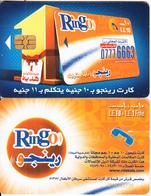 EGYPT - 1 Pound Bonus, Ring-O Telecard 10 L.E.+ 1 L.E., Chip Axalto 2, Red CN : 0209(thick), Used - Egypt