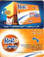 EGYPT - Ring-O Telecard 10 L.E.+ 1 L.E., Chip Axalto 2, Red CN : 0209(thin), Used - Egypt