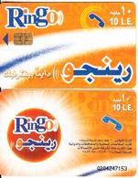 EGYPT - Orange & White, Ring-O Telecard 10 L.E., Chip Axalto 2, Black CN : 0204, Used - Egypt