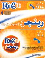 EGYPT - Orange & White, Ring-O Telecard 10 L.E., Chip Axalto 2, Black CN : 0203(large), Used - Egypt