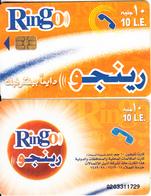 EGYPT - Orange & White, Ring-O Telecard 10 L.E., Chip Axalto 2, Black CN : 0203(small), Used - Egypt