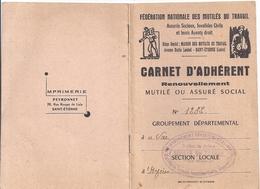 CARTE D'ADHERENT  -FEDERATION NATIONALE DES MUTILES DU TRAVAIL  VAR N°1232  HYERES 1973.74 - Non Classés