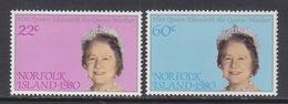 NORFOLK  ISLAND  271-2   **   QUEEN  MUM  80th  B'DAY - Norfolk Island