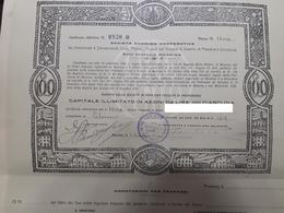 MESSINA - SICILIA /  SOCIETA' ANONIMA COOPERATIVA  _  CERTIFICATO DI N. 1 AZIONI DA LIRE 100 - Banca & Assicurazione