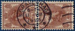 Nederland 1924 7½ Ct Keerdruk Gestempeld - Tete-beche Pair Cancelled 's Gravenhage 11 VIII 1925 - Period 1891-1948 (Wilhelmina)