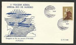 Portugal 50 Ans 1º Traversée Par Avion Atlantique Sud Gago Coutinho Cachet Commemoratif  Funchal Madère Madeira 1972 - Maschinenstempel (Werbestempel)