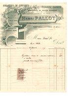 FACTURE   BIJOUTERIE  JOAILLERIE     HENRI   PALLOT    MONTCEAU  LES  MINES   1909 - France
