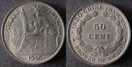 INDOCHINE FRANCAISE  50 Cent   1946  INDOCHINA  FRANCE  PORT OFFERT - Cambodge