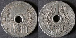 INDOCHINE  1 Cent COCARDE 1940  INDOCHINA   PORT OFFERT - Colonias