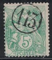TYPE BLANC - N°113 - JOUR DE L'AN  - CHIFFRE 113  DANS UN CERCLE. - Marcophily (detached Stamps)