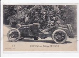 AUTOMOBILE DE COURSE : Edmond Sur Voiture Renault - Très Bon état - Cartes Postales
