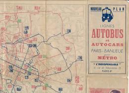 """Ancien Plan """"L'INDISPENSABLE"""", Lignes Autobus Et Autocars Paris-Banlieue, Métro - Europe"""