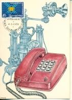 CM-Carte Maximum Card # 1985-Luxembourg  # Sciences- Télécommunications - Téléphonie - Centenaire Du Réseau Téléphonique - Telecom