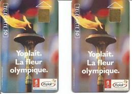 2 Télécartes De France YOPLAIT - LA FLEUR OLYMPIQUE 50 U GEM 12/90 Et 01/92 (N° 106) - Jeux Olympiques
