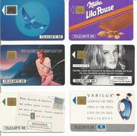 Lot De 6 Télécartes De France 1990 / 1991 50 U - MONOPRIX, VARILUX, MILKA, OISEAU, FRANCE TELECOM - Jeux Olympiques