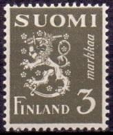 FINLAND 1930 3mk Leeuw Olijfgroen PF-MNH-NEUF - Finland