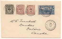 Lettre  Pour Le Canada De 1935 Avec 4 T  Dont Dont 1c Cagou Et 1F Surch 1F50 Voilier - Nouvelle-Calédonie