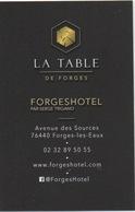 """Carte (de Visite) : Domaine De Forges (les Eaux) CP 76440 : Restaurant """"La Table De Forges"""" - Cartes De Casino"""
