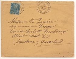 Lettre De Nouméa De 1908 Pour Brisbane Avec 25c Rade Seul Sur Lettre Cte Mini 125€ Avec Lettre - Neukaledonien