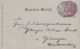 AUTRICHE 1896 ENTIER POSTAL CARTE LETTRE DE MARIENBAD - Entiers Postaux