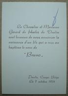 Faire-part Naissance Bruno De Harlez De Deulin. - Paulis Congo Belge 1954. - Birth & Baptism