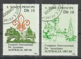 "St.Thomas Und Principe 1069,1070 ""Congreso International Do Escutismo AUSTRALIA 1987-88"" Gest-Kat.10,00 - Francobolli"