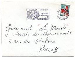 FAUNE / ABEILLE = 92 LEVALLOIS PERRET 1966 = FLAMME SECAP  Illustrée De 3 ABEILLES Dans ARMOIRIES' CENTENAIRE COMMUNE' - Marcofilia (sobres)