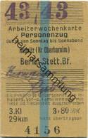 Deutschland - Arbeiterwochenkarte - Personenzug - Gültig Von Sonntag Bis Sonnabend - Rüdnitz (Kreis Oberbarnim) - Berlin - Bahn