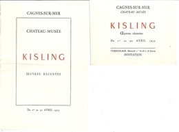 INVITATION -KiSLING  -CHATEAU-MUSEE -CAGNES-SUR-MER Avril 1953 - Mappe