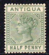 Antigua QV 1882 ½d Dull Green, Wmk. Crown CA, Perf, 14, Hinged Mint, SG 21 - Antigua & Barbuda (...-1981)