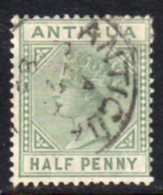 Antigua QV 1882 ½d Dull Green, Wmk. Crown CA, Perf, 14, Used, SG 21 - Antigua & Barbuda (...-1981)