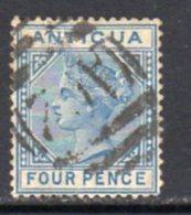 Antigua QV 1882 4d Blue, Wmk. Crown CA, Perf, 14, Used, SG 23 - Antigua & Barbuda (...-1981)