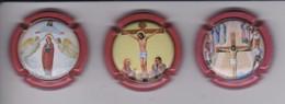 LOTE DE 3 PLACAS DE CAVA BARNILS DE TEMA RELIGIOSO (CAPSULE) JESUS-JESUCRISTO - Sparkling Wine