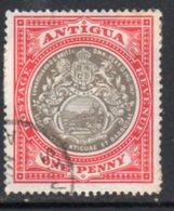 Antigua 1903-7 1d Grey-black & Rose Red, Wmk. Crown CC, Perf, 14, Used, SG 32 - Antigua & Barbuda (...-1981)