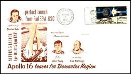 USA: 'Apollo-16 In Space - Launch - Start, 1972', Kennedy Space Center [KSC] - Briefe U. Dokumente