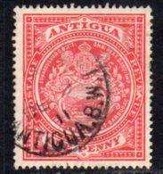 Antigua 1908-17 1d Scarlet, Wmk. Mult. Crown CA, Perf, 14, Used, SG 44 - Antigua & Barbuda (...-1981)