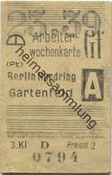 Deutschland - Arbeiterwochenkarte - Berlin Nordring - Gartenfeld - Fahrkarte 3. Klasse 1939 - Bahn